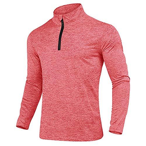 KEFITEVD Camiseta deportiva para hombre con media cremallera, transpirable, de forro polar, cuello alto, manga larga, elástica, para gimnasio, running rosa L