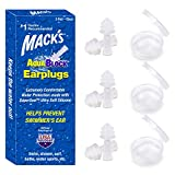 Mack's AquaBlock Swimming Earplugs, 3 Pair - Comfortable, Waterproof, Reusable Silicone Ear Plugs for Swimming, Snorkeling, Showering, Surfing and Bathing (Clear)