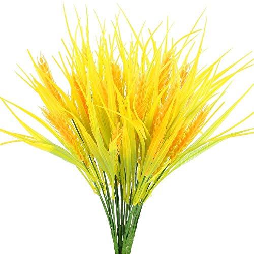 Künstliche Blumen Fake-Bouquet Garland Golden Wheat Grass Gefälschte Sträucher Pflanzen Herbst Faux Kunststoff Sträucher Herbst Indoor Outdoor-Hausgarten-Patio Yard Bauernhof Tischdekoration Pot-Dekor