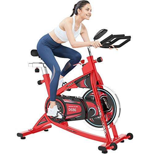 cycool Exercise Bikes Stationary Indoor Cycling with 40 lbs Flywheel,LCD Monitor,Belt Drive, Comfortable Adjustable Seat/Handlebar for Home Upright Workout Bike Training