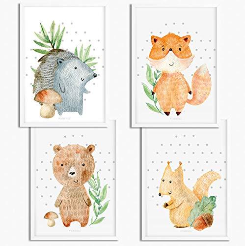 Sunnywall® 4er Set Woodland Waldtiere Igel Fuchs Bär Eichhörnchen Poster Kinderzimmer - A4 Bilder Babyzimmer Kinderposter | OHNE Bilderrahmen | - Deko Mädchen Junge