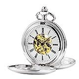 TREEWETO Reloj de bolsillo unisex con cadena, analógico, cuerda manual, retro, doble cubierta, esqueleto, color plateado y dorado