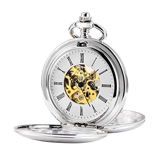 TREEWETO - Reloj de bolsillo unisex con cadena, analógico, cuerda de mano, retro, doble cubierta, esqueleto, plata, oro
