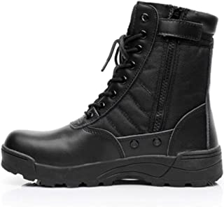 Assault Boots Nylon keep warm High Help Lace Up Style Military Tactical Boots Antislip Anti-wear Durable Rubber Sole (Color : Black, Size : 40)