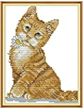 Kit de bordado de puntada Set Cute Cat Impreso Contado 11CT Punto de cruz DIY Hecho a mano Costura Reloj de pared Sala de estar Decoraci¨n del hogar