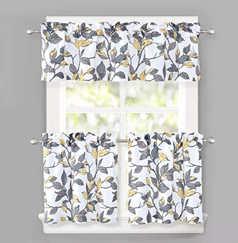 DriftAway Ryan Sketch Floral Branch Pattern Semi Sheer 3 Pieces Rod Pocket Kitchen Window Curtain Set with 2 Tiers 29 Inch by 24 Inch Each and 1 Valance 58 Inch by 14 Inch Yellow Gray Arkansas