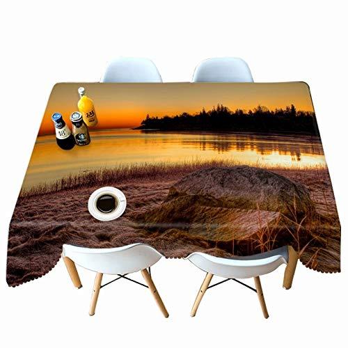 XXDD 3D Seelandschaft in Sonnenuntergang Muster Tischdecke Rechteck für Küche Esstisch wasserdicht und staubdicht Tischdecke A6 140x180cm