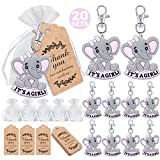 MOVINPE 20 Sets It's a Girl Baby Shower Return Favors for Guests, Pink Baby Elephant Keychains + Organza Bags + Thank You Kraft Tags for Elephant Theme Party Favors, Girls Kids Party Supplies