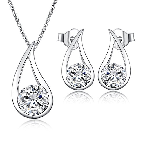 Pendant Necklace + Matching Stud Earrings Jewellery Set for Women- Made with Solid Silver & AAAAA Cubic Zirconia - Quality Gift for Wedding Bridesmaid Party