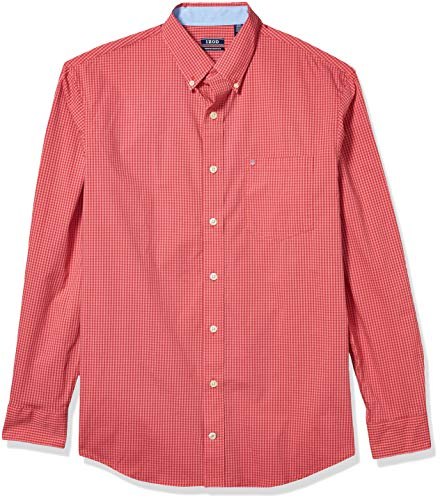 IZOD Men's Big & Tall Big and Tall Button Down Long Sleeve Stretch Performance Gingham Shirt, Saltwater Red, 3X-Large