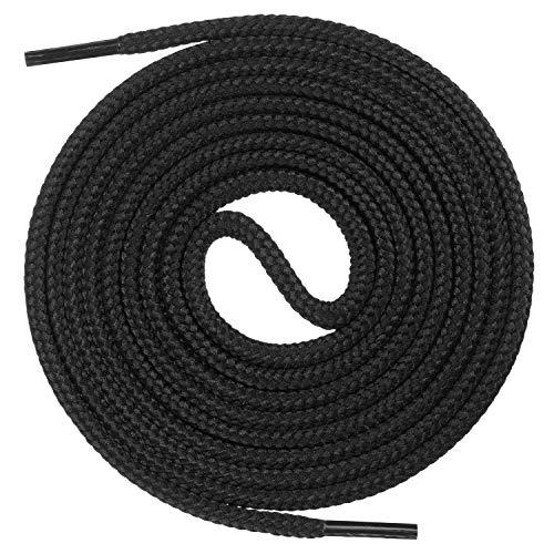 Mount Swiss runde Premium-Schnürsenkel für Business- und Lederschuhe - reißfester Allroundsenkel - ø 3mm - Farbe Schwarz Länge 80cm