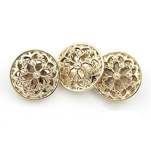 10PCS Clothes Button - Fashion Hollow Flower Metal Shank Round Shaped Metal Button Set Sewing Button (25mm, Gold)