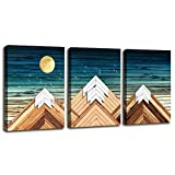 Geometric Mountain Canvas Wall Art for Office Bedroom,Rustic Wall Decor for Living Room Blue Sky Mountain Pictures on Canvas Prints,3 Piece Framed Rustic Home Decor Artwork