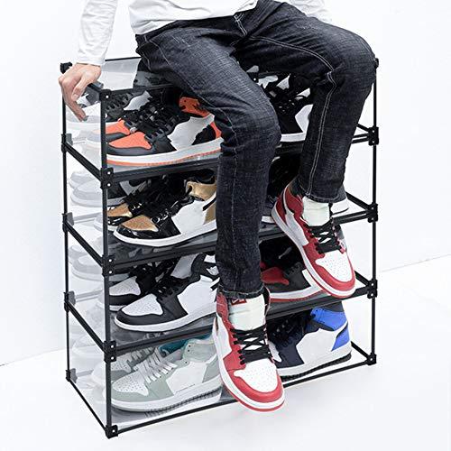 AIMCAE Cajas de Zapatos, 8 organizadores de Almacenamiento de Zapatos, contenedor de Zapatos de acrílico Transparente apilable para Zapatillas, Caja de presentación de Zapatos Modular