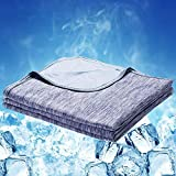 LUXEAR Cooling Blanket, Double-Side Design Cooling Throw Blanket with Japanese Q-Max 0.4 Cooling Fiber, 100% Cotton Backing, Anti-Static, Skin-Friendly, Breathable for Night Sweats, Machine Washable