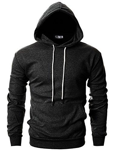 Ohoo Mens Slim Fit Long Sleeve Lightweight Hoodie With Kanga Pocket/DCF010-CHARCOAL-M