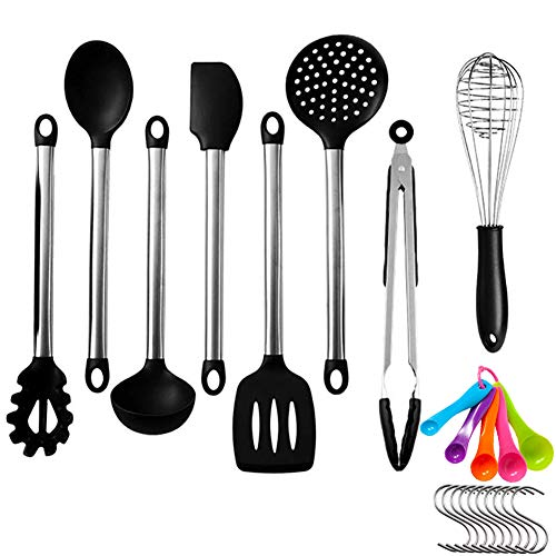 HAOBAIMEI Silicone Cooking Utensil Set - Kitchen Spatulas & Spoons for Nonstick Cookware - Heat Resistant, Non-Scratch, Dishwasher Safe Silicon Stainless Steel Tools - Measuring Cups, Whisk (144.5)