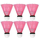 LIOOBO 6 volani di volano da Allenamento in plastica Durevole per Palla da Badminton Che Giocano a Palline per Accessori per Esercizi scolastici Allaperto - Rosa