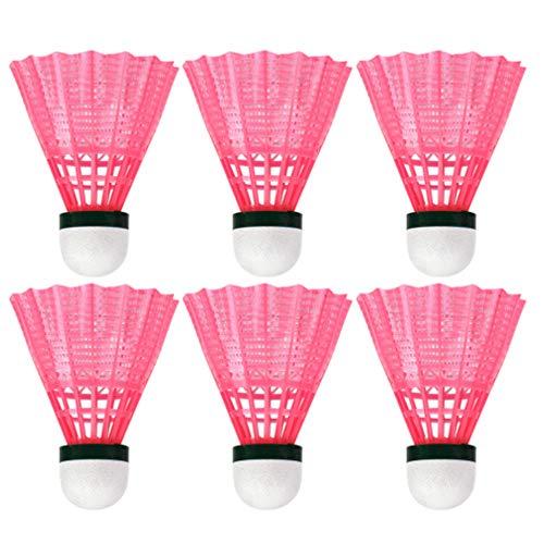 LIOOBO 6 Stück Kunststoff Badminton Ball langlebig Sport Trainingsball Federbälle Spielen Bälle für Outdoor-Schulübung Zubehör - pink