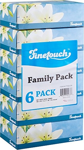 Finetouch Soft Facial Tissues 2 Ply Box of 130 Pack of 6 780 Facial Tissues Toatal Family Pack 6