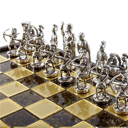 Manopoulos Schachspiel Bogenschütze thematische Griechisch -detailliert - Metall im Kiste mit Verschluss - Komplet- Detaillierte Marquetery Design - Handgefertigt Brettspiel aus Griechenland