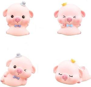 4 Pcs Pig Figurines, Pig Statue Figurine Ornament, Piggy Toy Figures DIY Crafts Fairy Garden Ornament Car Dashboard Decoration Home Decor Cake Topper