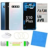 Galaxy S10+ Back Glass Cover Replacement Housing Door with Pre-Installed Camera Lens +Installation Manual +All The Adhesive +Repair Tools for Samsung Galaxy S10 Plus SM-G975 All Carriers(Prism White)