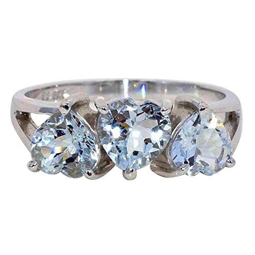 Elizabeth Jewelry Genuine Aguamarina corazón Anillo Plata de Ley 925y RODIO Acabado