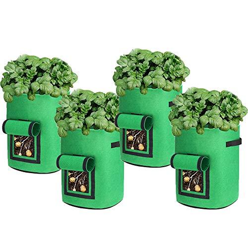 AOUSTHOP Kartoffel Pflanzsack 4 Stück Pflanzen wachsen Taschen für Gemüse Kartoffel Tomaten Karotten Zwiebel Blume Obst (10 Gallonen, Grün)
