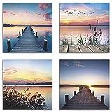 Artland Leinwandbilder auf Holz Wandbild Bild Set 4 teilig