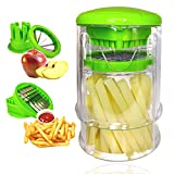Cortador de patatas fritas para cortar patatas rápido - Multifunción, 2 cuchillas de acero inoxidable - Máquina manual de uso fácil - Corte rápido de frutas tomates y pájaros - fácil de limpiar