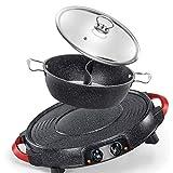 Diaod Ronda Barbacoa eléctrica doméstica Placa Cubierta Horno eléctrico sin Humo Barbacoa Bote Pequeño Kebab Pot máquina Teppanyaki