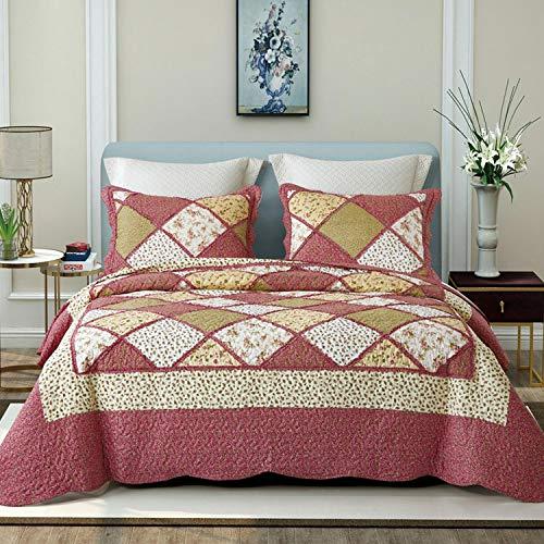 Asvert 3 Teilig Bettwäscheset Polyester 220 * 240 cm Tagesdecke Bettüberwurf Steppdecke Patchwork Bettdecke Doppelbett (220 * 240, Rot)