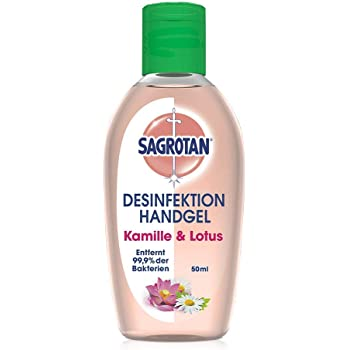 Sagrotan Hand-Desinfektionsgel Kamille & Lotus Desinfektionsmittel für die Hände in handlicher Reisegröße – 1 x 50 ml antibakterielles Gel