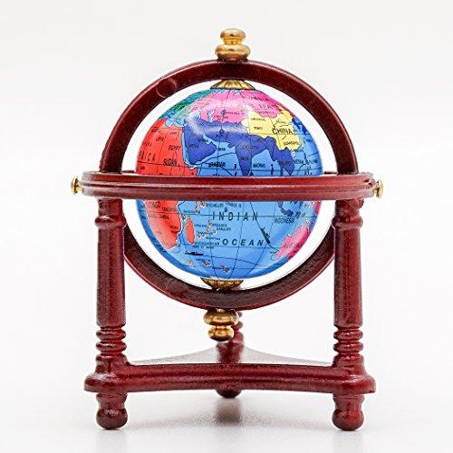 Odoria 1/12 Miniatur Globus mit Holz Ständer Für Puppenhaus Dekoration Zubehör