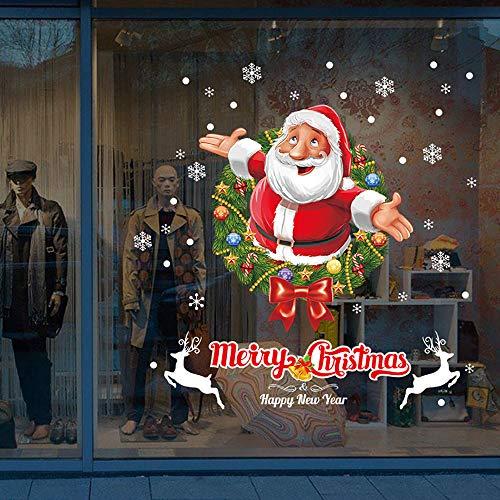 Kungfu Mall Adesivo murale di Natale e adesivi per finestre con fiocchi di neve di Natale Adesivi per decorazioni natalizie