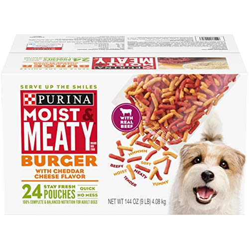 Purina Moist & Meaty Dry Dog Food, Burger with Cheddar Cheese Flavor - 24 ct. Pouch (Best Filet Mignon Recipe Bobby Flay)