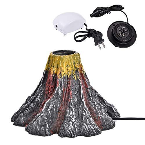 LOVOICE Aquarium Volcano Ornament Kit,Aquarium Vulkan Ornament Kit,Vulkanförmige Harz-Aquarium-Ornamentlampe Mit Luftpumpe IP68 Wasserdichter Unterwasser-LED-Scheinwerfer Aquarium Dekoratives Licht