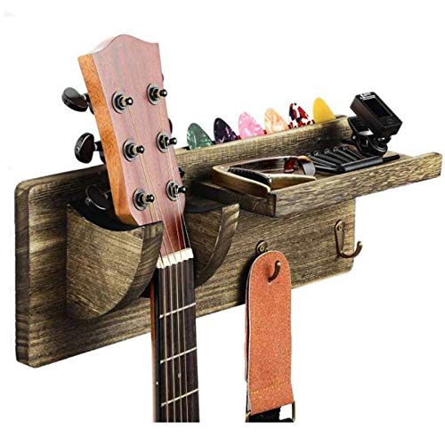 TODALE Guitar Wall Mount Guitar Wall Hanger Wood Guitar Hanging Rack with Pick Holder and 3 Hook (Sandalwood Grey Color)