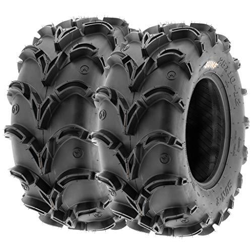Pair of 2 SunF A050 AT 28x12-12 ATV UTV Deep Mud Terrain Tires, 6 PR, Tubeless