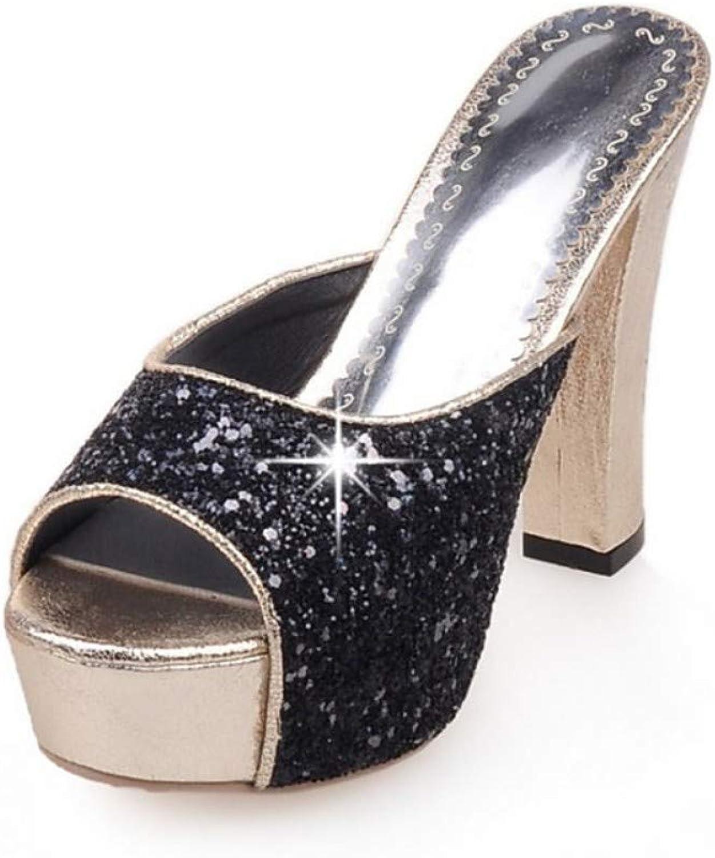 ZHZNVX Women's PU Summer Sandals Chunky Heel Peep Toe Sequin Black Silver Pink Wedding Party & Evening