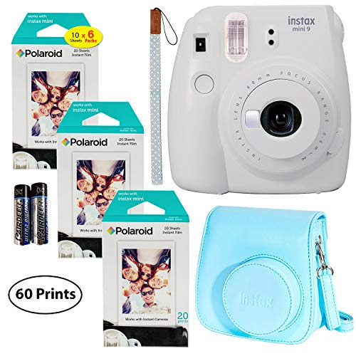 Fujifilm Instax Mini 9 Instant Camera (Smokey White), 6 x Packs of 10 Prints Instant Film (60 Sheets) with Groovy Case Bundle