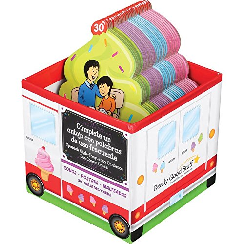 Really Good Stuff Helados de enunciados de palabras de USO frecuente (Spanish High Frequency Sentence Ice Cream Cone Cards)