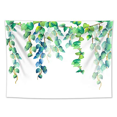 HVEST Fresh Green Leaves Tapestry Wall Hanging Spring Cirrus Plants Tapestry Watercolor Tapestry Backdrop for Bedroom Living Room Dorm Decor, 60Wx40H inches