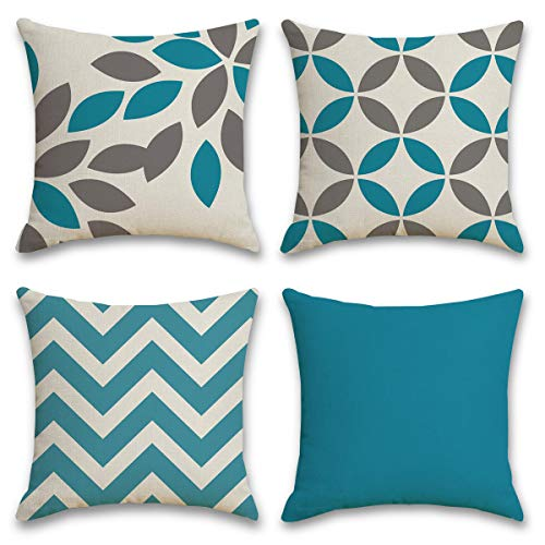 Cushion Covers 18x18 Inch Throw Pillow Cases 45x45 cm Set of 4 Cotton Linen Decorative Geometric Square Creative Sofa Pillowcases Home Decor Cushion Covers for Living Room Garden Couch - Blue