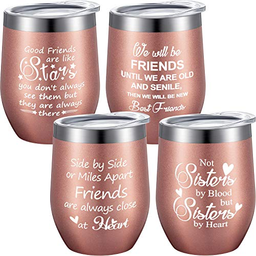 4 Pieces Friendship Gifts Wine Tumbler Set, Funny BFF Gift for Friends on Christmas Birthday, 12 oz Vacuum Insulation Stainless Steel Coffee Mug with Straws, Lids and Brushes