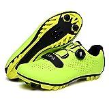 Zapatillas De Bicicleta De Montaña, Hombre Calzado De Bicicleta Zapatos De Bicicleta Antideslizantes Transpirables para Ciclismo De Carretera Y Ciclismo De Montaña,Verde,40 EU