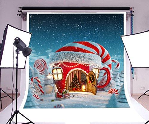 YongFoto 2,5x2,5m Foto Hintergrund Weihnachtsbäume Fairytale Hats Haus Zuckerstange Lollipops Geschenke Schlitten schneit Winter Fotografie Hintergrund Photo Portrait Party Kinder Hochzeit Fotostudio