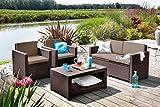 Koll Living Lounge Set Korsika in braun, inkl. Sitzauflagen und Rückenkissen, langlebiger und wetterfester Kunststoff in Rattanoptik, 2 Sessel + 1 Sofa + Tisch