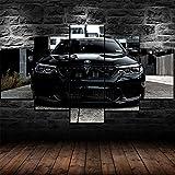 Cuadro Moderno En Lienzo 5 Piezas Black BMW M5 Super Car Cuadro De Pintura Póster De Arte Moderno Oficina Sala De Estar O Dormitorio Decoración del Hogar Arte De Pared 200X100CM